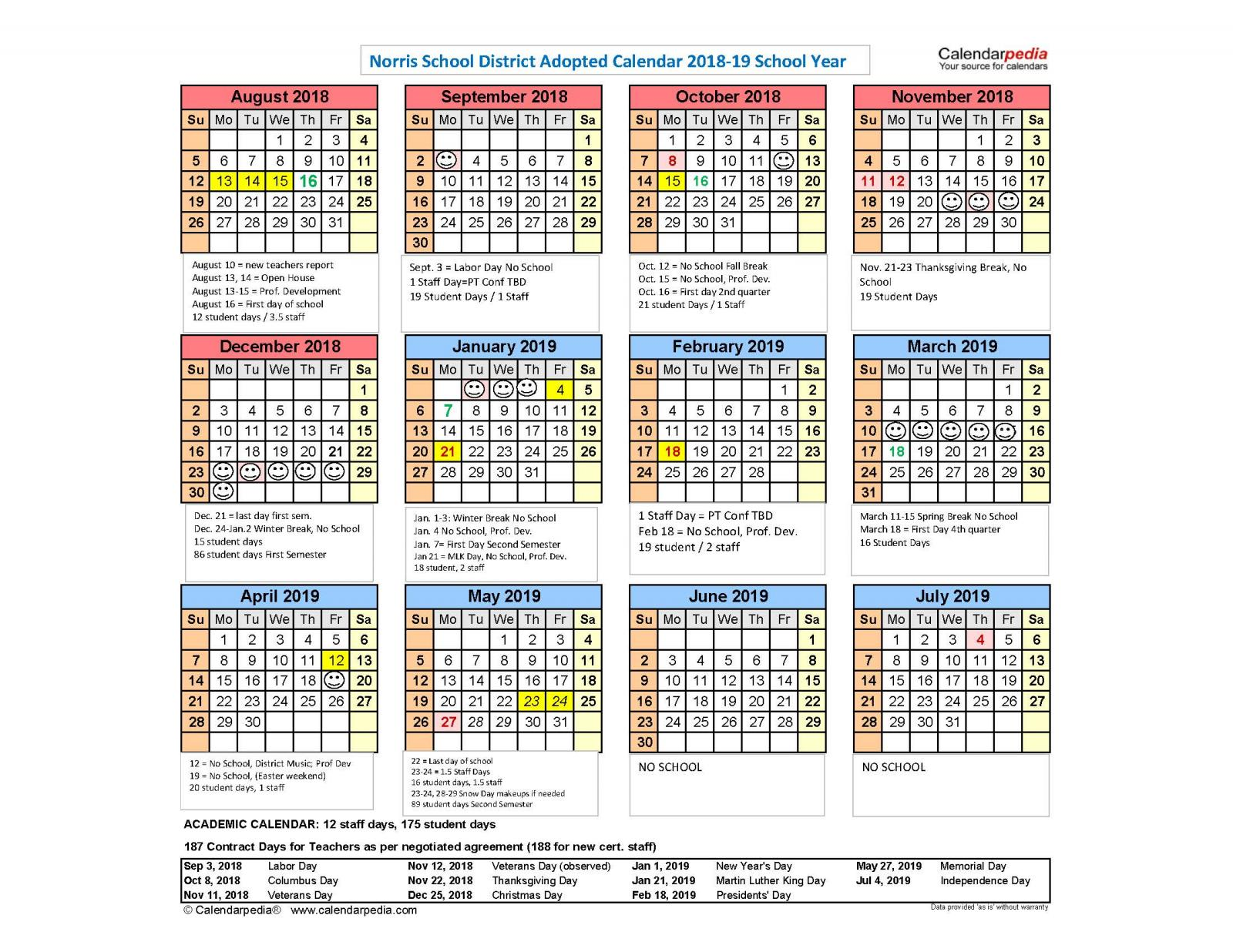 Calendar for 2018 19 School Year Available | Norris School District