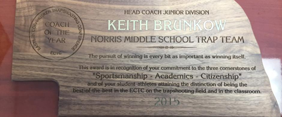 Brunkow awarded Eastern Cornhusker Trapshooting Conference Coach of the Year
