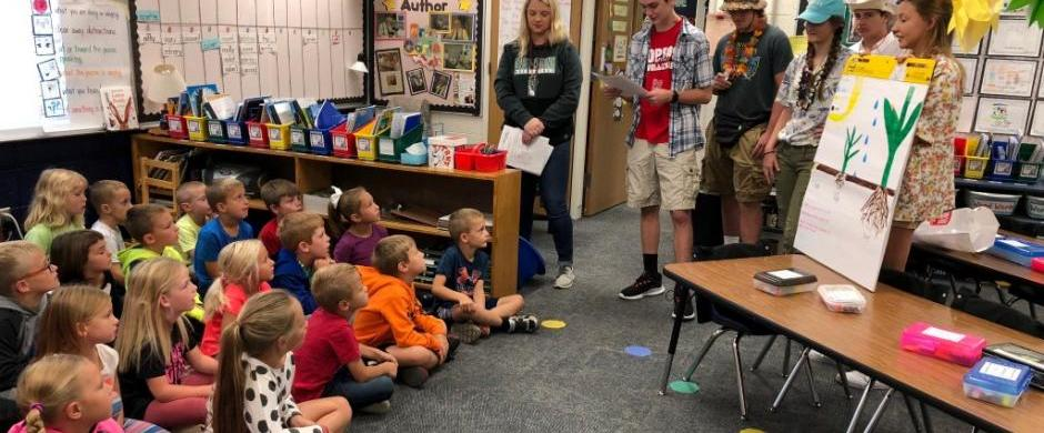 First Grade Students Learn from High Schoolers