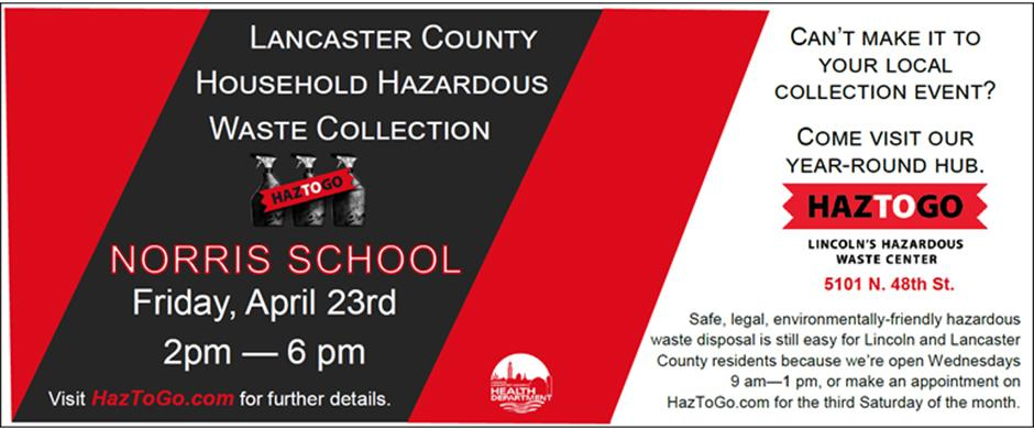 Lancaster Co. household hazardous waste collection @ Norris, April 24th