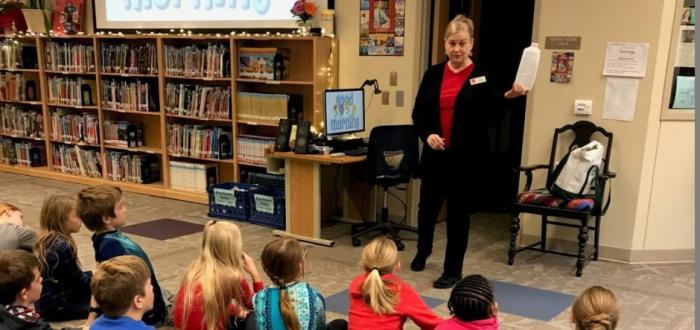 Third grade students learn about recycling