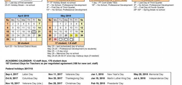 Norris 2017-18 School Year Calendar