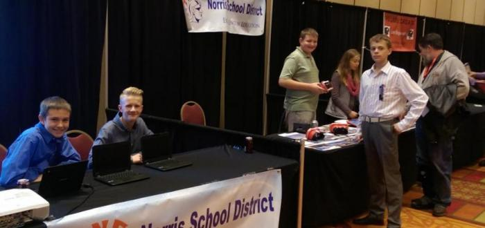 Norris students and staff present new technologies during the Nebraska Association of School Board's Technology Showcase.