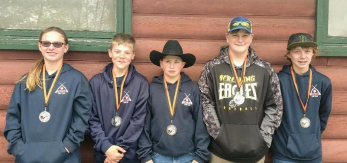 Junior High Medal Winners (L to R) L:illy Ballard, Gavin Kuck, Zach Hennecke, Carson Alexander and Hunter Riensche.