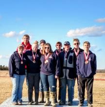 Norris High School Trap Team Award Winners ( L to R): Back row: Colton Johnson, Corbin Fix, Nathan Stertz, Sean Kile Front row: Seanna Woodward, Lauren Glinsmann, Chloe Bowman, Noah Helmink, Bryce McGill