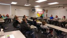 Career Areas of Transportation and Technical Services panel members  Jason Slama, Eric Schultz, John Bush, Veronica Schippert and Chris Shipley sharing career events with 8th graders.