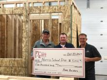 Left to Right: Mike Kinning of Kinning Design Build, Jon Critser Norris Residential Construction instructor, and Matt Kleinschmit of Pride Homes and Current President of Home Builder Association of Lincoln.