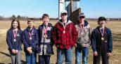 Junior High Trap Team Award Winners ( L to R): Sara Malcolm, Gavin Kuck, Mason Pillard, A.J. Glinsmann, Ben Armstrong, Hunter Riensche.