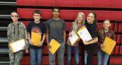 7th Grade L to R: Gavin Powell, Leo Colgan, Isaiah Kroese, Emma Wilds, Isabel Havel, Rayley Burnside. Congratulations!