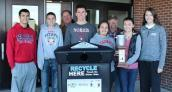 Norris Student Council and Norris Grounds Department were presented with a trash and recycling receptacle as Norris High School was awarded the Cleanest Campus award for Lancaster County schools.  Raymond Central Schools also won a trophy and receptacle.  It has been placed on the front side/east entrance of the high school. This is the third year in a row Norris High School has received this award.